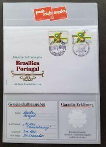 [SJ] Portugal Brazil Joint Issue 40th Friendship Treaty 1993 (FDC *guaranty card