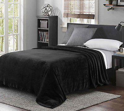 """Black 90/"""" x 104/""""Luxury King Size Flannel Velvet Plush Solid Bed Blanket"""