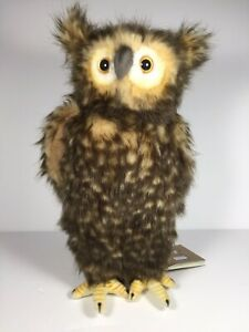 NEW-Hansa-Owl-Moving-Head-Strigiformes-Plush-Stuffed-Animal-13-5-034-34-cm-NWT