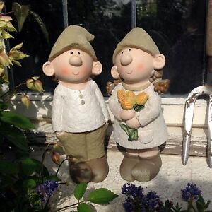 Bill and Beryl Elves standing rose, Garden Ornament, Gnome, Garden Fairy, Troll,