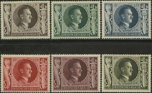 Germany 1943 - Scott# B231-6 - Hitler, Nazi, WWII - Set of 6 Stamps - MNH