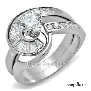 Silver Stainless Steel Round CZ Women/'s Wedding Engagement Ring Sets Size 5-10