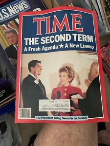 1985 Time Magazine : President Ronald and Nancy Regan on Cover , Sworn In