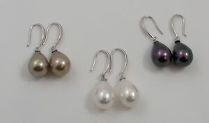 Sea Shell Pearl & Sterling Silver Hook Drop Earrings