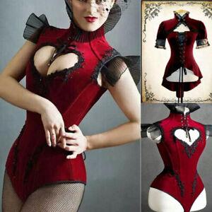 Vintage-Women-Gothic-Punk-Short-Sleeve-Lace-Jacket-Coat-amp-Medieval-Red-Bodysuit