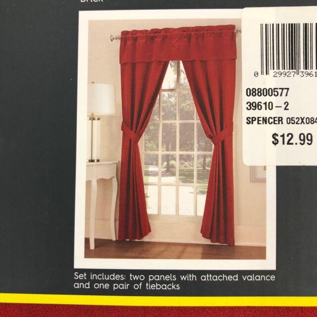 No 918 Room Darkening 5 Piece Window Set Brick Color Curtains Ebay