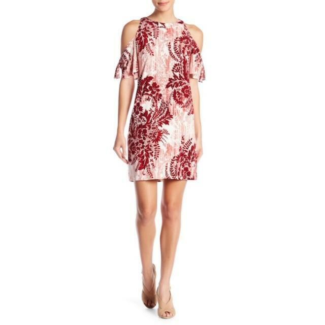 damen London Times rot Weiß Cold Shoulder Shift Dress Spring Floral Sz 16 NWT