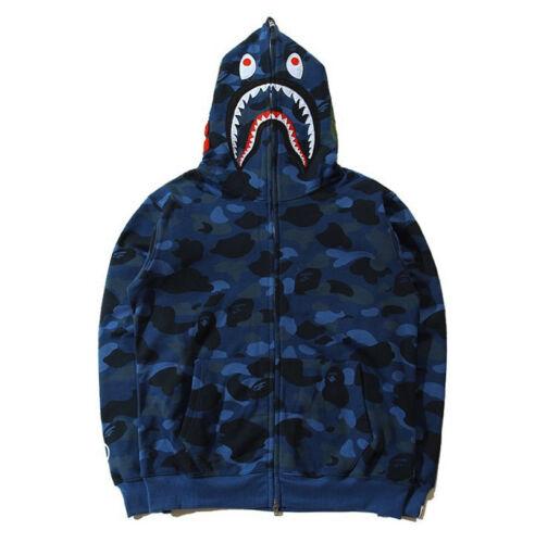 MEN/'S POPULAR Ape Bape Shark Jacket Jaw Camo Full Fermeture éclair Sweat à Capuche Sweats Manteau NOUVEAU