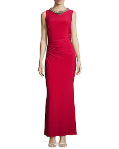 Laundry by Shelli Segal Womens Red Ruched Jersey Evening Dress Gown 12 BHFO 9267