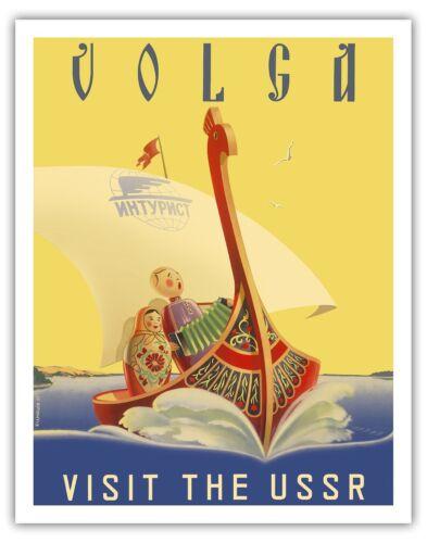 Volga USSR Russian River Cruise Vintage World Travel Art Poster Print Giclée