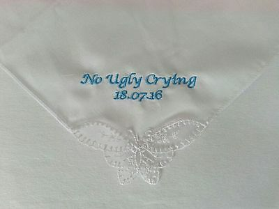 NO UGLY CRYING PERSONALISED HANDKERCHIEF HANKIE BUTTERFLY GIFT WEDDING FAVOR