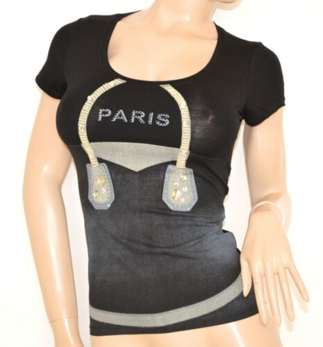 Elegante Corta shirt T 35x Manica Sottogiacca Cotone Nera Donna Maglietta Strass aqnZPP