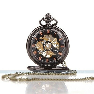Steampunk Roman Black Hand-winding Mechanical Skeleton Roman Men's Pocket Watch