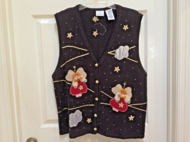 Christmas Sweater Vest  Black Size XL with Angels and Stars Bobbie Brooks 16/18