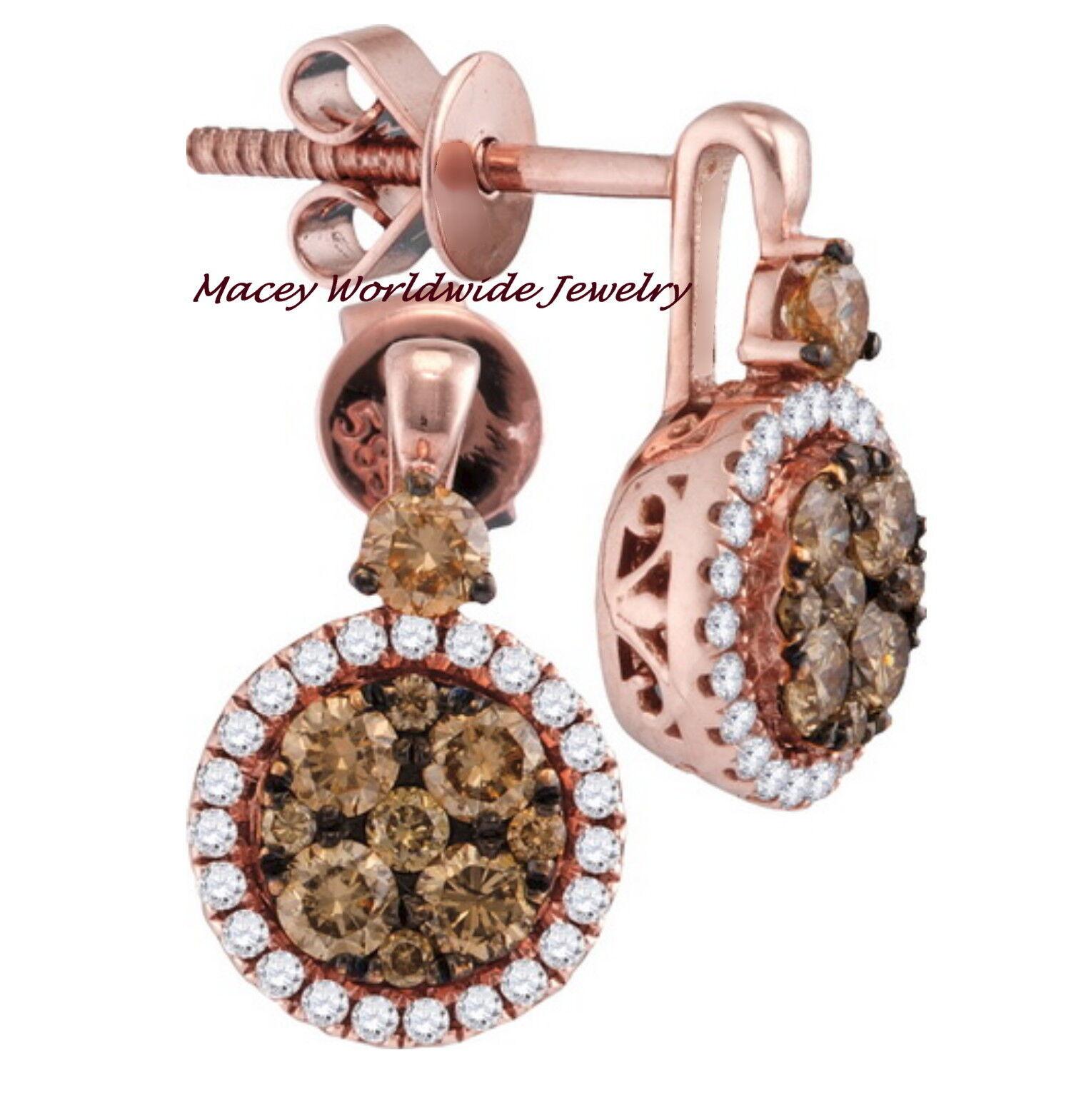 Brandy Diamond® Chocolate Brown 14K Ravishing pink gold  Halo Earrings .94 Ct