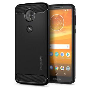 newest f3c2a 605f6 Details about For Motorola Moto E5 Plus   Spigen® [Rugged Armor] Black TPU  Slim Case Cover