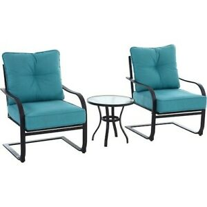 Outdoor Furniture Set 3pc Teal Bistro Yard Patio Deck Garden Balcony