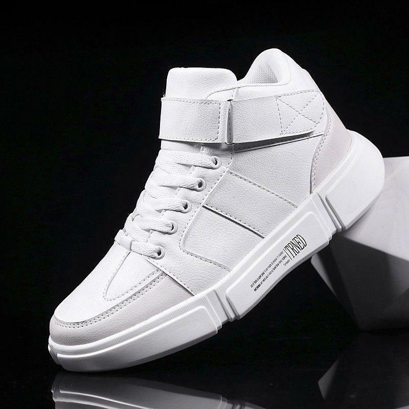 1c50c8357386 Men s Trainers Round Toe Lace Up Casual High Top Athletic Hip-hop Running  shoes