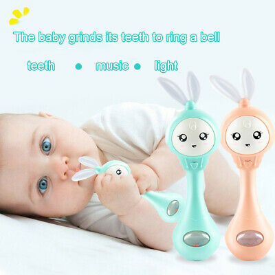 Rabbit Shaped Baby Infants Teether Music Light Shaking Rattle Hand Bell Toy Gift