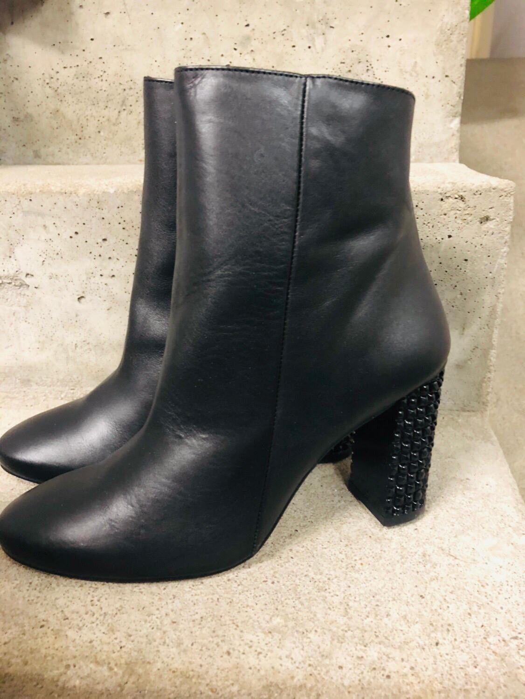 Sienna-botín de cuero con joyas apartado negro negro negro nuevo talla 41 s267j 22ed29