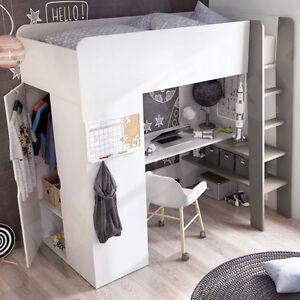 Details zu Funktional Hochbett Mike für Kinder! mit Schreibtisch und  Schrank!! Jugendbett
