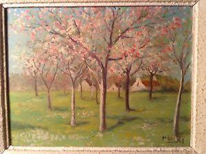 Tableau-Postimpressionniste-Verger-en-fleurs-Huile-signee-HENRY