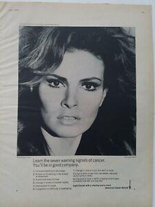 1970-American-Cancer-Sociedad-Raquel-Welch-Siete-Warning-Senales-Vintage-Foto-Ad