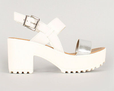 Womens White Open Toe Lug Sole Platform High Heel Chunky Sandals Ankle Strap