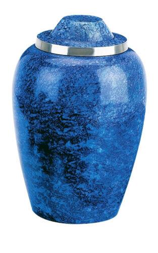 "Cobalt Blue Alloy 3/"" Size Funeral Cremation Urn Keepsake with Velvet Heart Box"