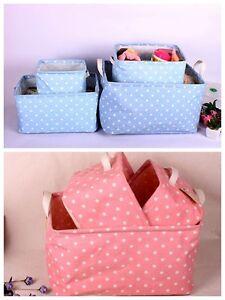 Multifunction-Zakka-Blue-Pink-Polka-Dots-ECO-Foldable-Toys-Storage-Box-SNFH010