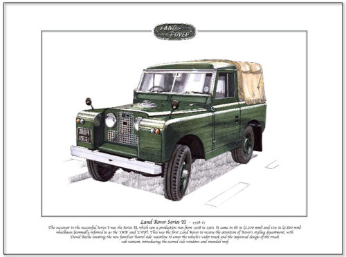 88 inch SWB LAND-ROVER Series II Fine Art Print A4 size Truck cab soft top