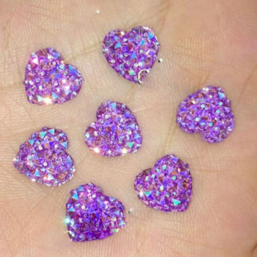 20//50x Heart Resin AB Color Flatback Botton Scrapbook Sequins Cellphone DIY 12mm