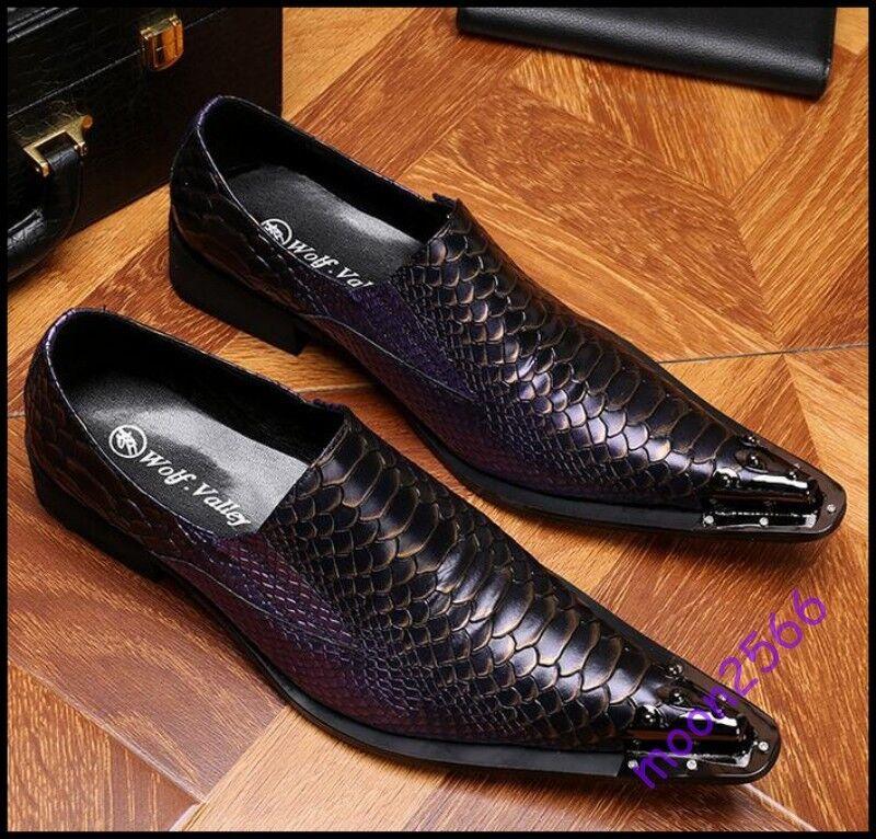 Uomo Europe Business Dress Shoes Slip On Pointy Toe Crocodile Print Nightclub Sz