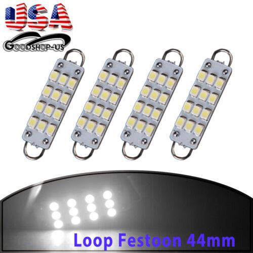 4x Pure White 44MM Festoon 12-SMD Rigid Loop LED Dome License Plate light Bulbs