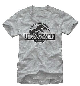 Jurassic-World-Men-039-s-Simple-T-Rex-Logo-Grey-Heather-T-Shirt-New
