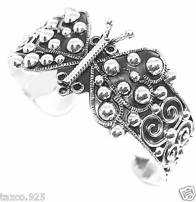 TAXCO MEXICAN 950 SILVER BEADED BEAD BUTTERFLY DECO SCROLL CUFF BRACELET MEXICO