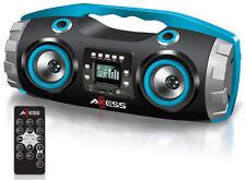 AXESS PBBT2709BL Portable Bluetooth FM Radio/CD/MP3/USB/SD Heavy Bass Boombox
