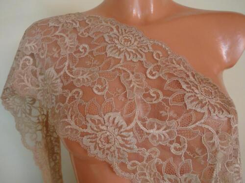 Französische elastische Spitze,Spitzenborte,Lace in Haselnuss braun 18cm breit