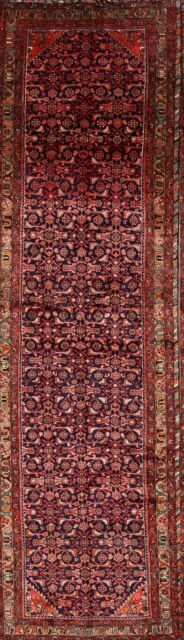 Vintage All-Over Traditional Hamedan Hand-Knotted 4'x13' Stair Runner Rug Wool