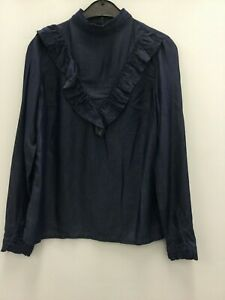 Miss-Selfridge-ladies-blue-denim-blouse-top-long-sleeve-size-10-new-frilled-neck