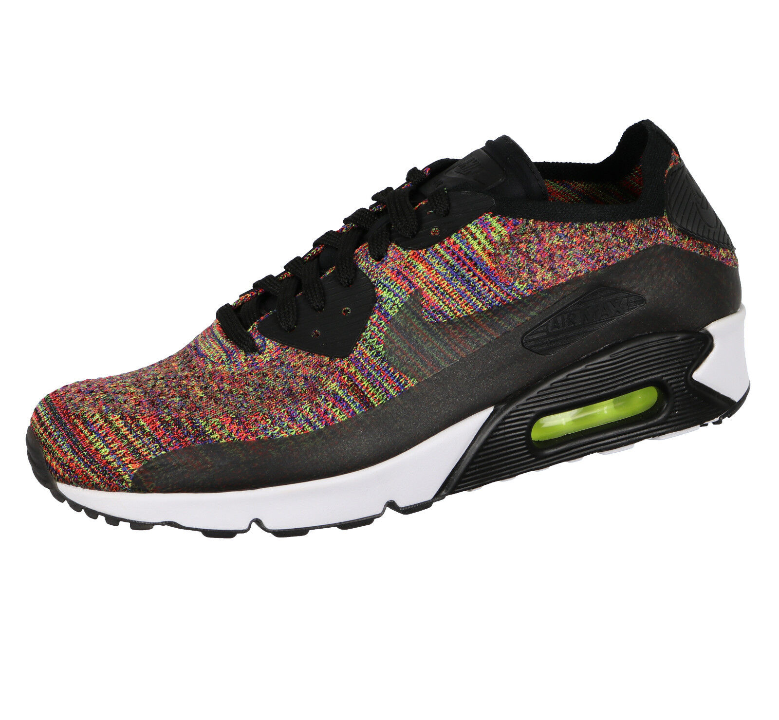 NIKE Air Max 90 Ultra 2.0 Flyknit sz 6.5 Black Bright Crimson Multi-Colored
