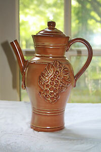 Decorative Pottery Pitcher Made in Italy Orange with Grapes and Leaves