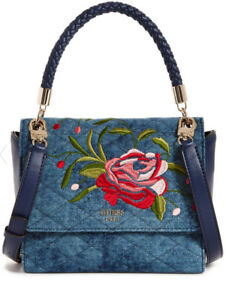 NWT-GUESS-Heather-Embroidered-Top-Handle-Denim-Handbag-Purse-Blue