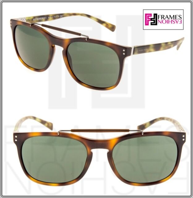 74713170f9a BURBERRY BE4244 Square Green Brown Havana Mirrored Unisex Sunglasses 4244