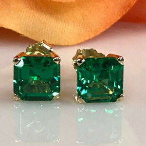 New-Stud-2-00-Carat-Princess-Cut-Emerald-Stud-Earring-14K-Yellow-Gold-Over