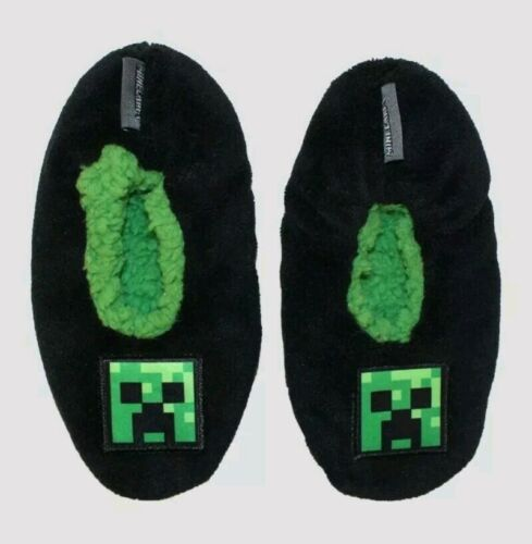 Minecraft Slippers Creeper Boy//Girl Toddler Nonslip Sole Black Size 9-10 3734