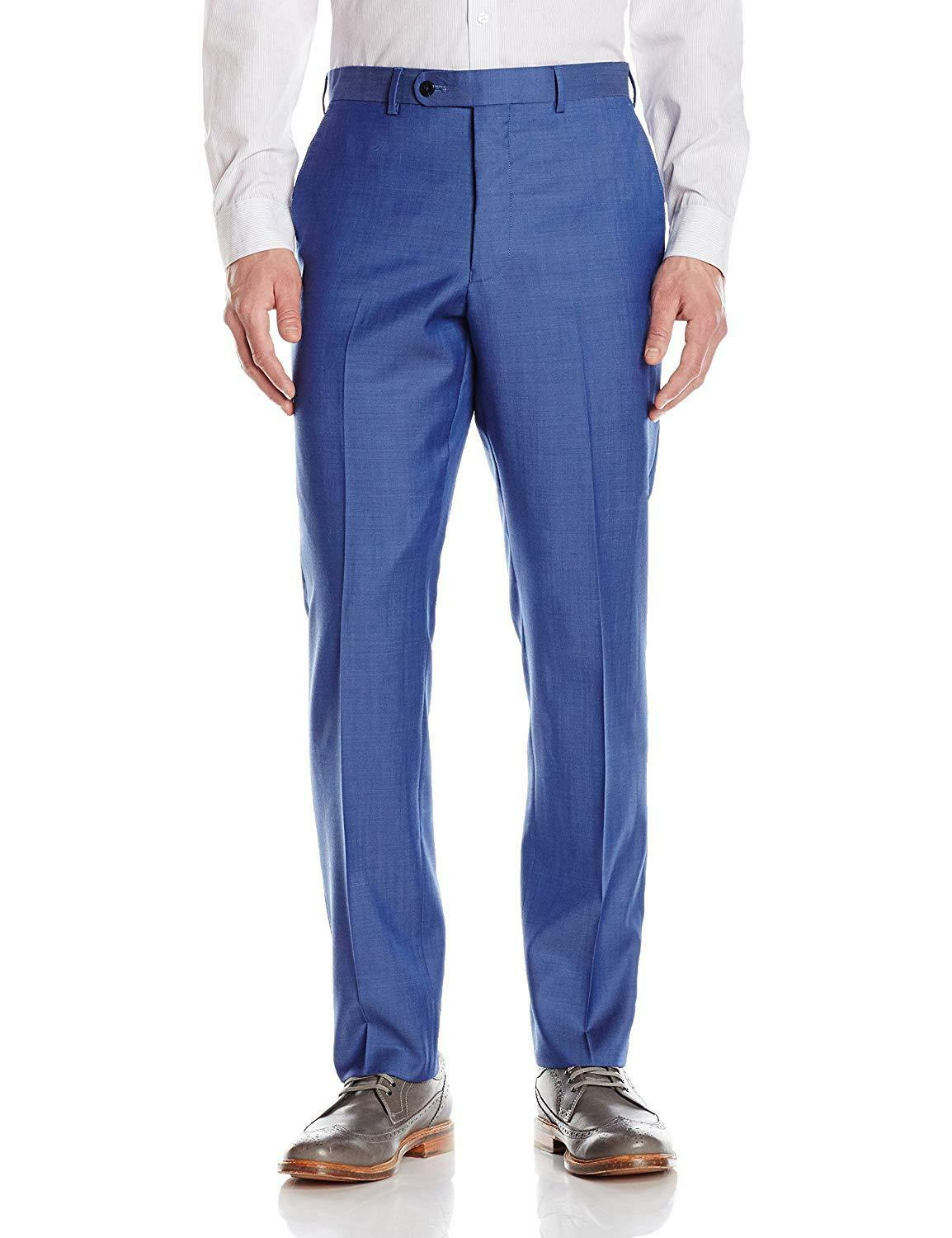 VINCE CAMUTO Men's blueE SOLID SLIM FIT TROUSERS FLAT FRONT DRESS PANTS 31W