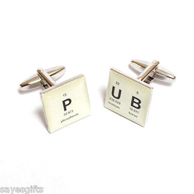 Retro Square Periodic Table Pub Design Cufflinks