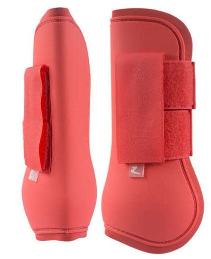 Horze Pony Size Open Front Tendon Exercise Jumping Turnout Boots Deep Coral Pink