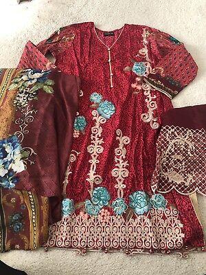 Latest Pakistani Indian Elegant Linen Sequence 3 Piece Linen Salwar Kameez